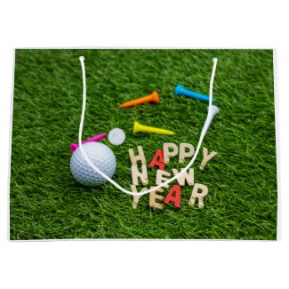 Golf ball and tee with Happy New Year on green Large Gift Bag