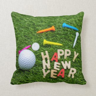 Golf ball and tee with Happy New Year on green Throw Pillow
