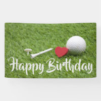 Golf ball and tee with love  Birthday Card Banner