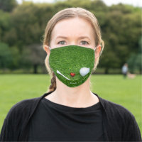 Golf ball and tee with love for wedding cloth face mask