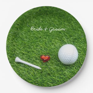 Golf ball and tee with love for wedding paper plate