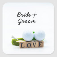 Golf ball and Tee with LOVE Golfer Wedding Square Sticker