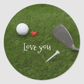 Golf ball and tee with love on green grass love classic round sticker