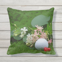 Golf ball and tee with love on green grass Outdoor Outdoor Pillow