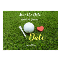 Golf ball and tee with love save the date invitation