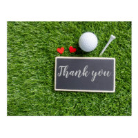 Golf ball and tee with love Thank you Postcard