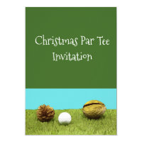 Golf ball and tee with pine cone Merry Christmas Invitation