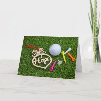 Golf ball and tee with word HOPE for new year Holiday Card