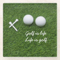 Golf ball and tees are on green grass Golf is life Glass Coaster