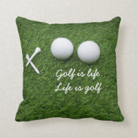 Golf ball and tees are on green grass Golf is life Throw Pillow
