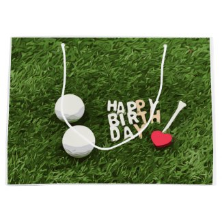 Golf ball and tees golfer  birthday  with love large gift bag