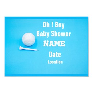 Golf ball and tees on blue background invitation