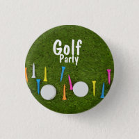 Golf ball and tees on green Golf Party Button
