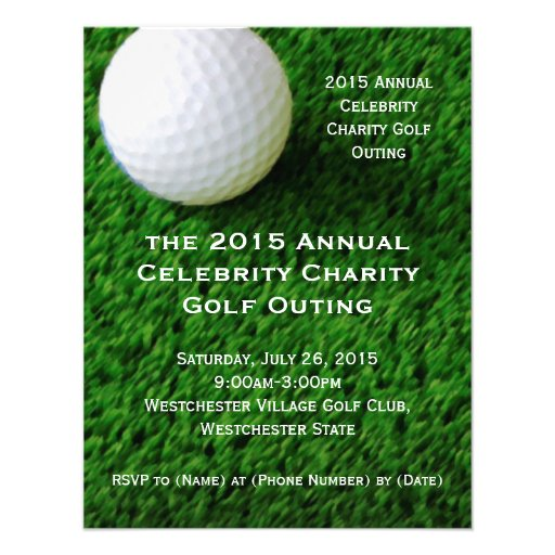 Golf Ball and Turf Custom Golf Outing Invitations