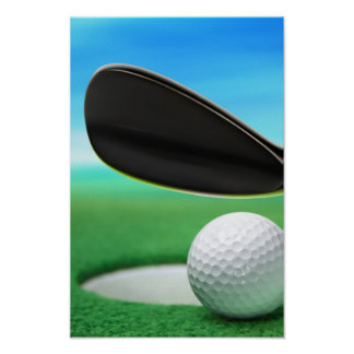 Golf Ball and Wedge Closeup Poster
