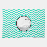 Golf Ball; Aqua Green Chevron Hand Towel