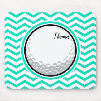 Golf Ball; Aqua Green Chevron Mouse Pad
