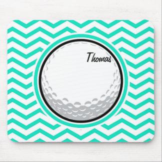 Golf Ball; Aqua Green Chevron Mouse Pad