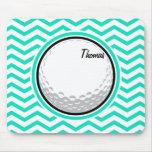 Golf Ball; Aqua Green Chevron Mousepads
