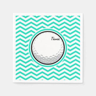 Golf Ball; Aqua Green Chevron Napkin