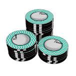 Golf Ball; Aqua Green Chevron Poker Chip Set