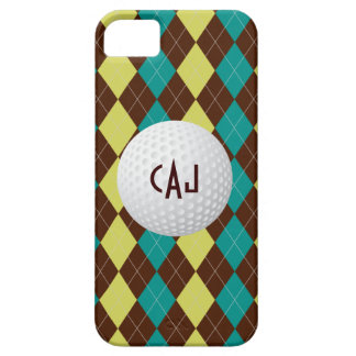 Golf Ball, Argyle Plaid monogram iPhone 5 case