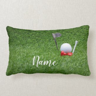 Golf ball at 19th hole with love on green grass lumbar pillow