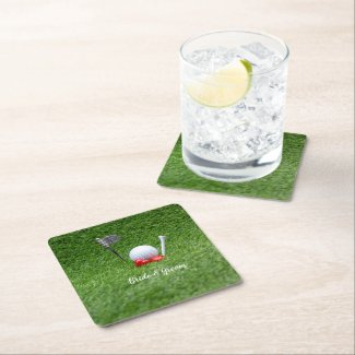 Golf ball at 19th hole with love on green grass square paper coaster