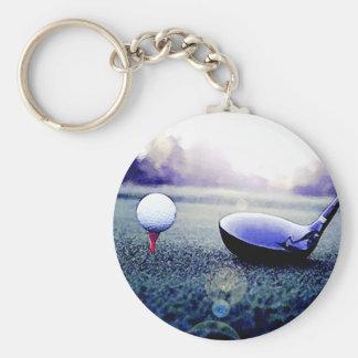 Golf Ball & Bat Basic Round Button Keychain