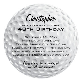 Golf Ball Birthday Party Card