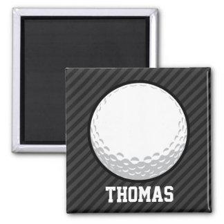 Golf Ball; Black & Dark Gray Stripes 2 Inch Square Magnet