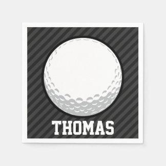 Golf Ball; Black & Dark Gray Stripes Napkin