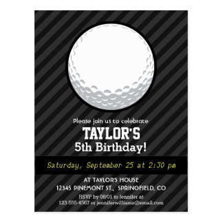 Golf Ball; Black & Dark Gray Stripes Postcard