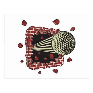 golf ball breaking through brick wall postcard