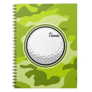 Golf Ball; bright green camo, camouflage Spiral Notebook
