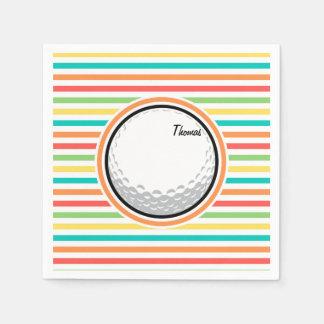 Golf Ball; Bright Rainbow Stripes Napkin