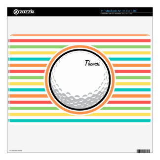 Golf Ball; Bright Rainbow Stripes Skins For MacBook Air