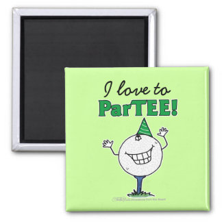 Golf Ball Character ParTEE! 2 Inch Square Magnet