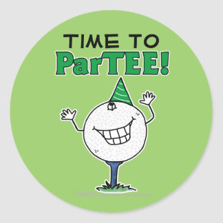 Golf Ball Character ParTEE! Classic Round Sticker