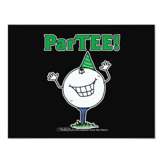 Golf Ball Character ParTEE! 4.25x5.5 Paper Invitation Card
