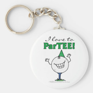 Golf Ball Character ParTEE! Basic Round Button Keychain