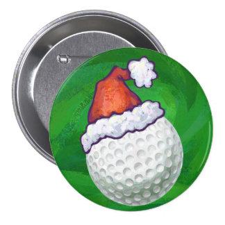 Golf Ball Christmas Hats Pinback Button