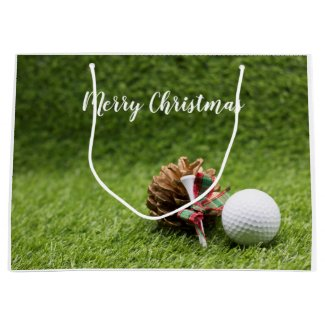 Golf ball Christmas Holiday with pine cone golfer Large Gift Bag