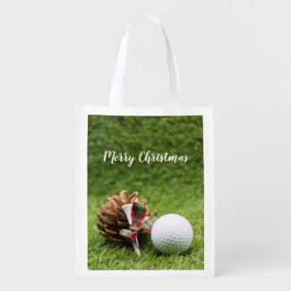 Golf ball Christmas Holiday with pine cone Grocery Bag