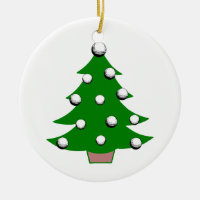 Golf Ball Christmas Tree Ceramic Ornament
