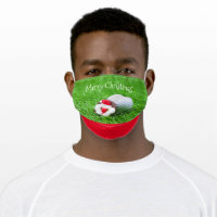 Golf ball Christmas with Santa Claus on green Adult Cloth Face Mask