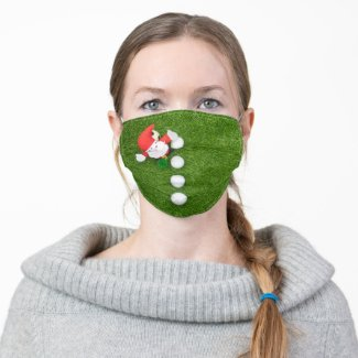 Golf Ball Christmas with Santa Claus on green Cloth Face Mask