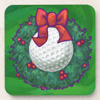 Golf Ball Christmas Wreath on Green Coaster