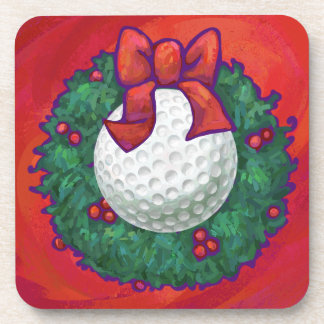 Golf Ball Christmas Wreath on Red Coaster