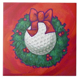 Golf Ball Christmas Wreath on Red Tile